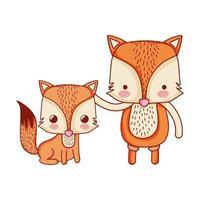 Animaux mignons, famille de renards adorable dessin animé icône isolé design