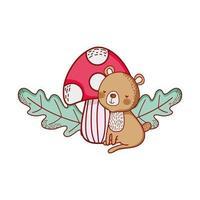 animaux mignons, ours avec dessin animé de feuillage de feuilles de champignon
