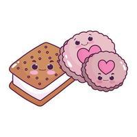 mignon, nourriture, crème glacée, biscuits, et, biscuits, dessert sucré, pâtisserie, dessin animé, isolé, conception vecteur