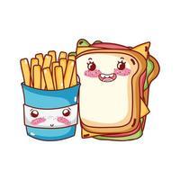Fast-Food mignon sandwich et dessin animé de frites vecteur