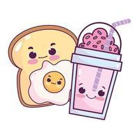 nourriture mignonne petit déjeuner tranche pain oeuf au plat dessert sucré pâtisserie dessin animé vecteur