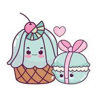 Cupcake alimentaire mignon et macaron avec ruban dessert sucré pâtisserie design isolé de dessin animé