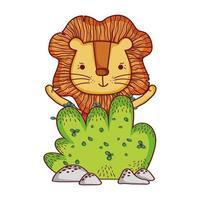 animaux mignons, petit lion dessin animé nature buisson vecteur