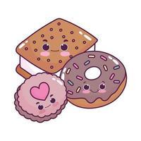 mignon, nourriture, crème glacée, biscuit, beignet, et, biscuit, dessert sucré, pâtisserie, dessin animé, isolé, conception