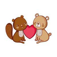 animaux mignons, adorable ours et écureuil amour coeur vecteur