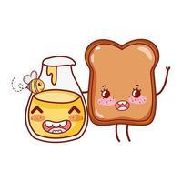 petit déjeuner mignon pain et miel bouteille kawaii cartoon