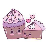 Cupcake et gâteau au chocolat alimentaire mignon amour dessert sucré pâtisserie design isolé de dessin animé