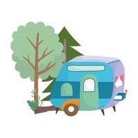 Camping remorque arbres forêt tronc dessin animé icône isolé design