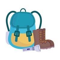 bottes de sac à dos de camping et dessin animé d'équipement de lampe de poche