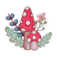 mignon, champignons, papillon, branche, feuilles, dessin animé vecteur