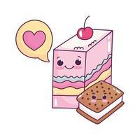 Gelée de nourriture mignonne et biscuit à la crème glacée aime la conception isolée de dessin animé de pâtisserie dessert sucré