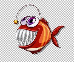 Personnage de dessin animé de poisson pêcheur orange sur fond transparent vecteur