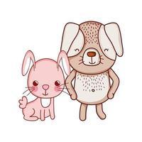 Animaux mignons, lapin et chien dessin animé icône isolé design vecteur
