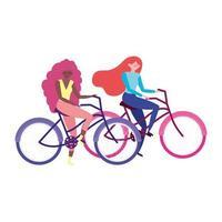 Transport écologique, jeunes femmes avec icône isolé de dessin animé de vélos