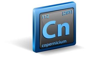 élément chimique copernicium. symbole chimique avec numéro atomique et masse atomique. vecteur