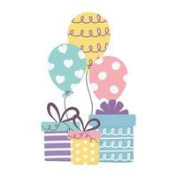 bonne journée, coffrets cadeaux et fête des ballons vecteur