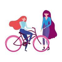 transport écologique, jeunes femmes avec dessin animé de vélo
