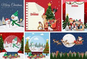 ensemble de carte postale de Noël vierge ou une affiche isolée vecteur