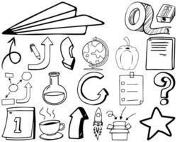 ensemble d'éléments et de symboles doodle dessinés à la main vecteur