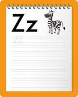 feuille de calcul de traçage alphabet avec lettre z et z