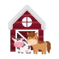 Animaux de la ferme cheval vache grange dessin animé icône isolé sur fond blanc vecteur