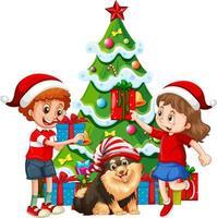 Groupe d'enfants avec leur chien portent le personnage de dessin animé de costume de Noël sur fond blanc vecteur