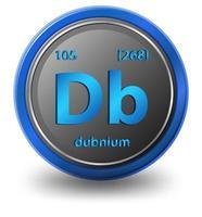élément chimique dubnium. symbole chimique avec numéro atomique et masse atomique. vecteur