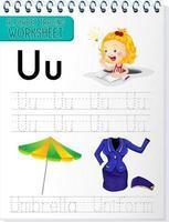 feuille de calcul de traçage alphabet avec lettre u et u
