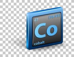 élément chimique de cobalt. symbole chimique avec numéro atomique et masse atomique.