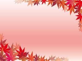 Un cadre de feuille d'érable sur un fond de gradation rose.