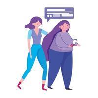 personnes et smartphone, femmes avec technologie de message de chat sur appareil mobile vecteur