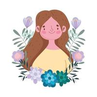 bonne fête des mères, femme fleurs feuilles décoration nature design isolé vecteur