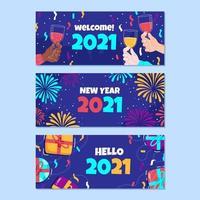 bannière de nouvel an dessiné à la main vecteur