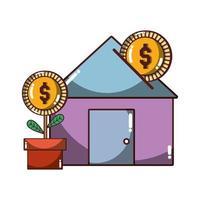 Banque de la maison investir plante en pot pièce argent entreprise icône design isolé ombre vecteur