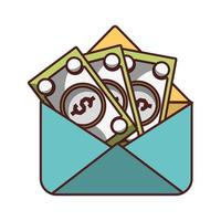 Enveloppe avec icône de billets d'argent ombre design isolé vecteur