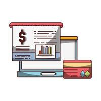 argent entreprise financier ordinateur portable rapport carte bancaire réussie vecteur