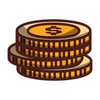 pièces d'argent empilé icône design isolé ombre vecteur