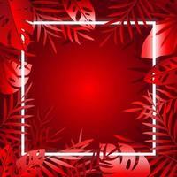 cadre néon de feuilles rouges vecteur