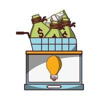 Panier d'achat financier d'entreprise d'ordinateur portable avec des sacs d'argent et des billets d'ordinateur portable vecteur