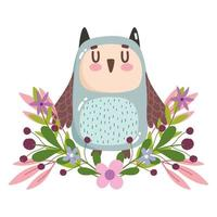 mignon hibou oiseau animal fleurs feuillage nature décoration dessin animé vecteur