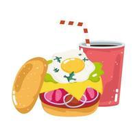 Menu de restauration rapide restaurant burger aux œufs frits malsains vecteur