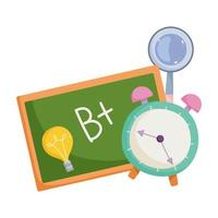 retour à l & # 39; école, loupe de tableau et dessin animé d & # 39; éducation élémentaire réveil vecteur