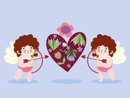 amour petit cupidon tir flèche coeur fleurs dessin animé romantique vecteur