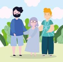 père de famille grand-mère et fils ensemble personnage de dessin animé vecteur