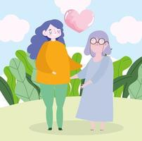 grand-mère de famille et petite-fille coeur amour ensemble dessin animé vecteur
