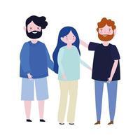 Pères de famille et personnage de dessin animé de membre permanent de la mère vecteur
