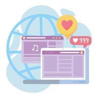 ordinateur portable adeptes de site Web vidéo de musique de réseau social