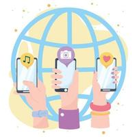 mains avec des technologies de communication et de réseau social application monde smartphone vecteur