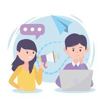 personnes avec ordinateur portable discours nouvelles promotion leadership réseau social vecteur
