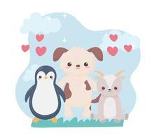 mignon pingouin chien et chèvre coeurs animaux de dessin animé vecteur